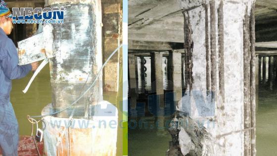cọc bị han rỉ lộ cốt thép mất khả năng chịu lực- sửa chữa cầu cảng